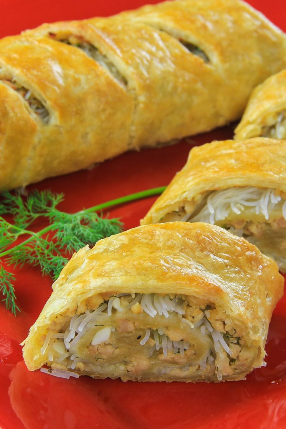 Easy Chicken Wellington Roll (with rice noodles) - Simple Recipes Using Puff Pastry