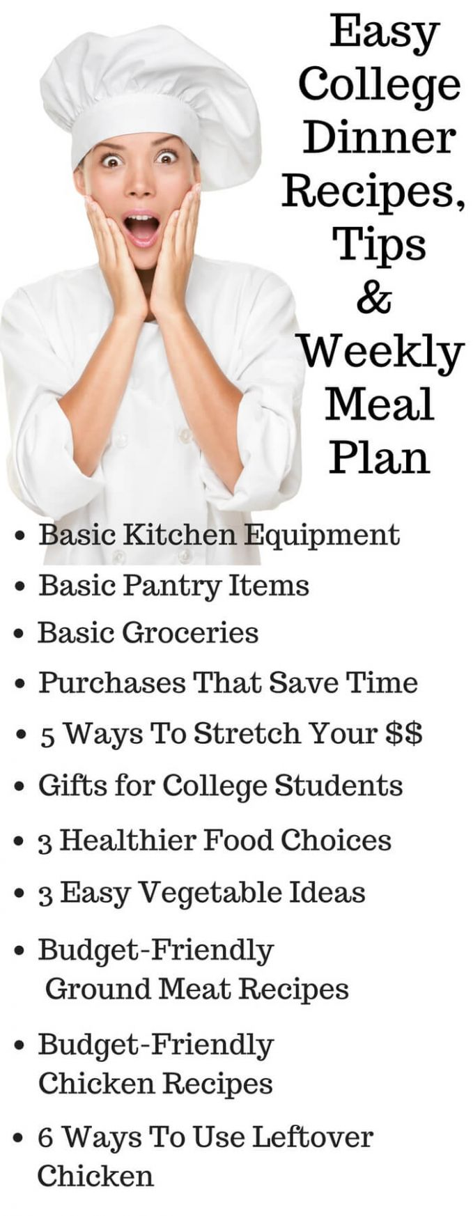 Easy College Dinner Recipes with Printable Weekly Meal Plan and ...