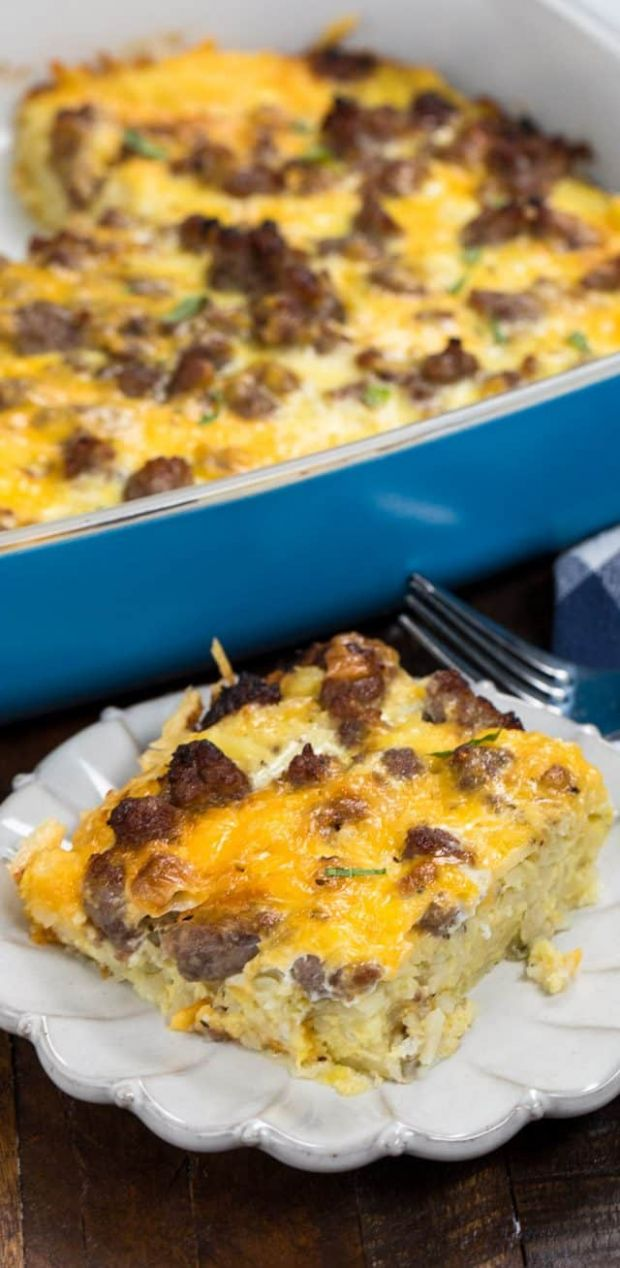 Easy Hash Brown Casserole (eggs, sausage, & cheese) - Crazy for Crust