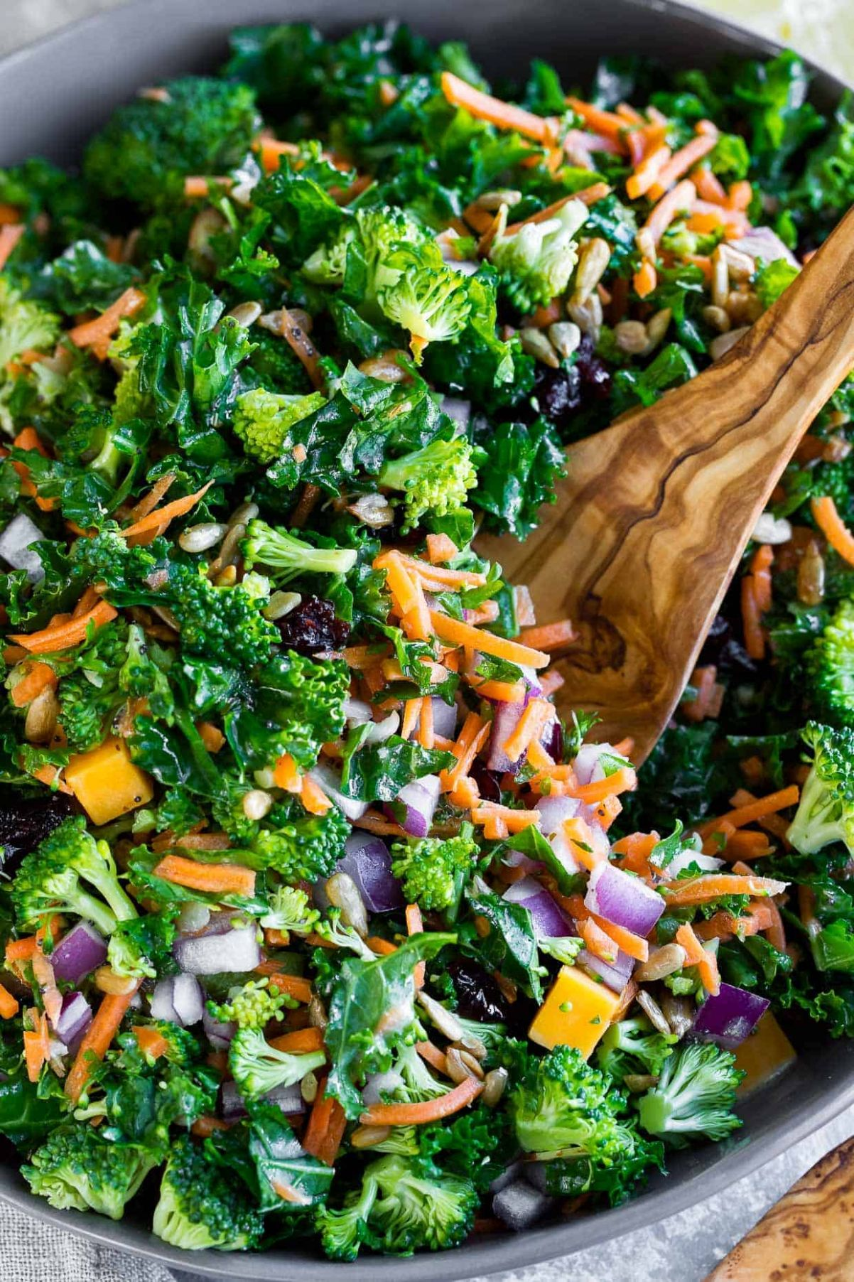 Easy Kale Salad with Fresh Lemon Dressing - Salad Recipes Veg For Dinner