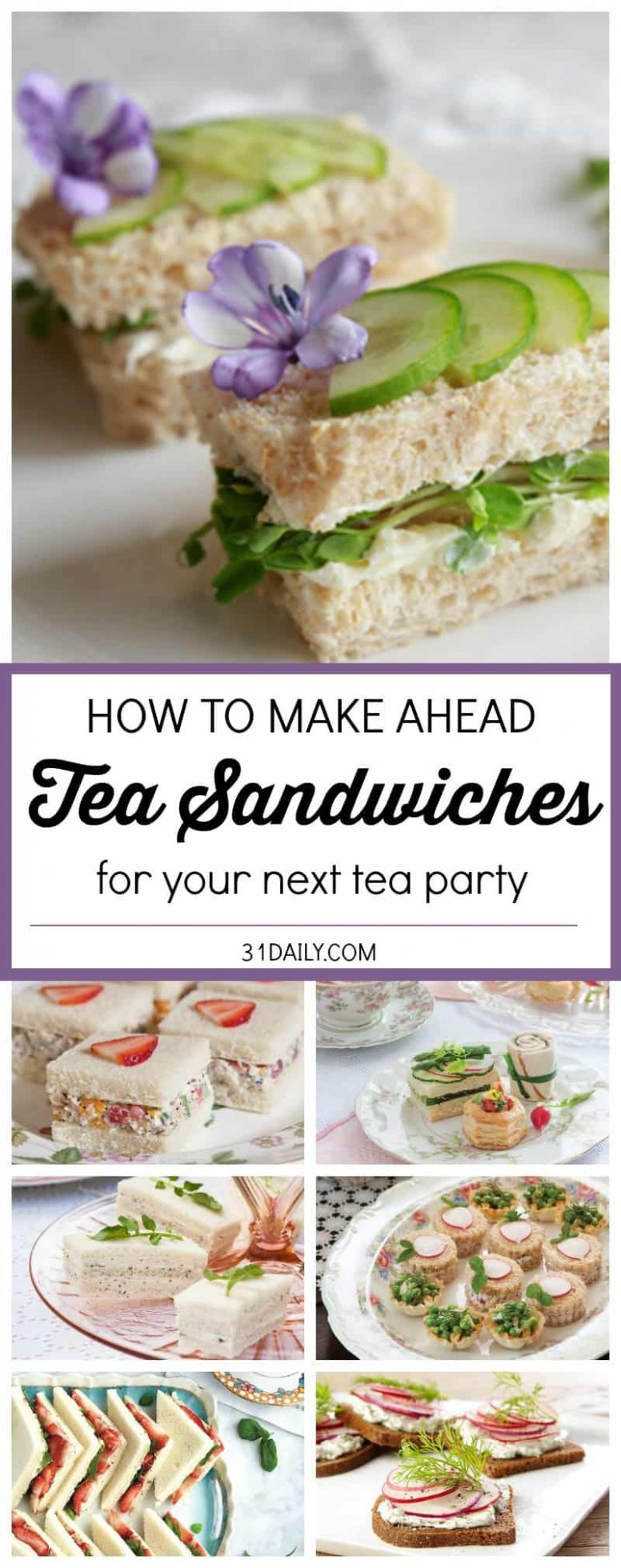 Easy Make Ahead Tea Sandwiches - 11 Daily - Recipes Sandwich Fillings Party