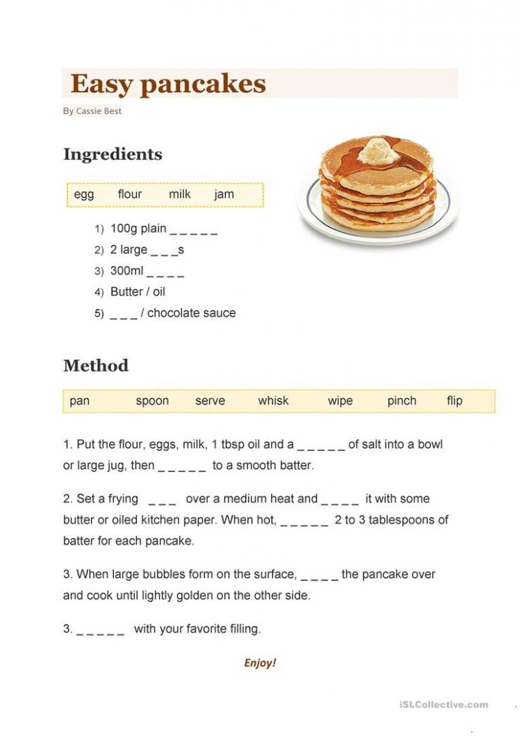 Easy Pancakes - English ESL Worksheets for distance learning and ..