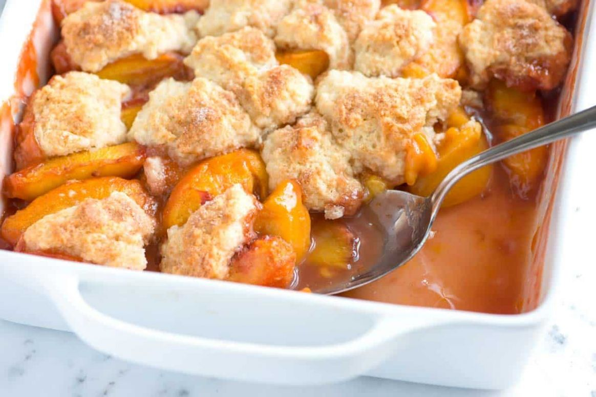 Easy Peach Cobbler Recipe with Biscuit Top