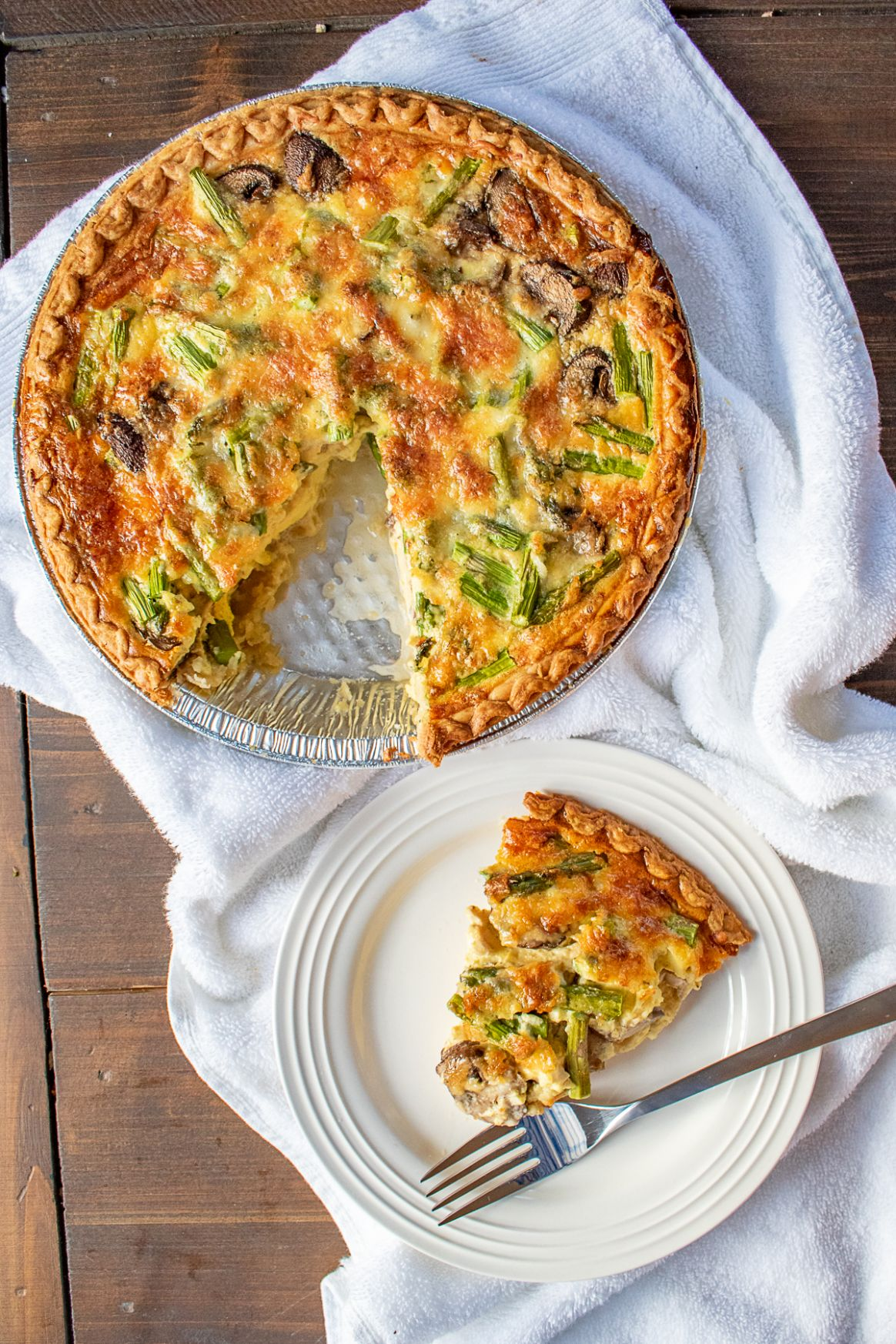 Easy Quiche Recipe with Asparagus, Mushrooms and Cheddar - thekittchen