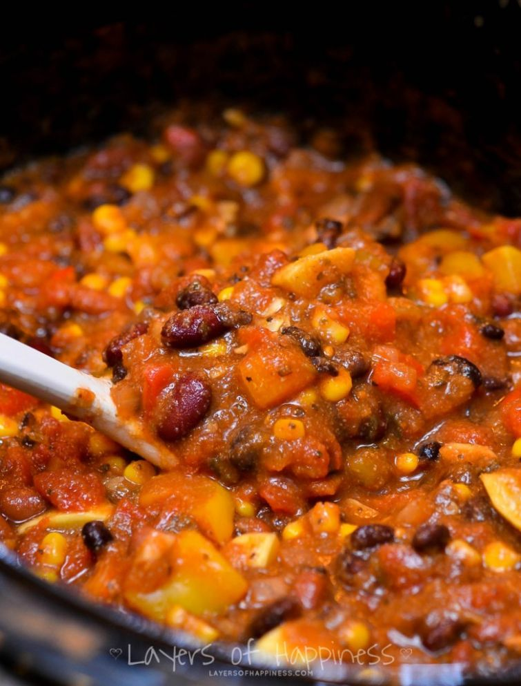 Easy Slow Cooker Vegetarian Chili - Recipes Vegetarian Slow Cooker