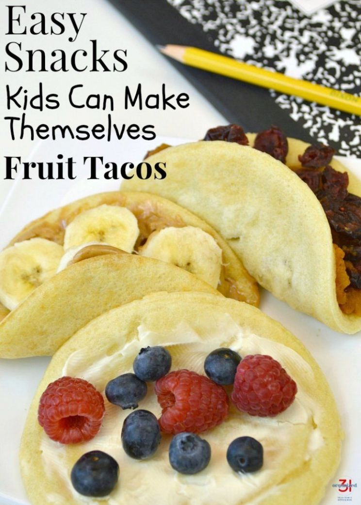 Easy Snacks Kids Can Make Themselves - Fruit Tacos | Easy snacks ..