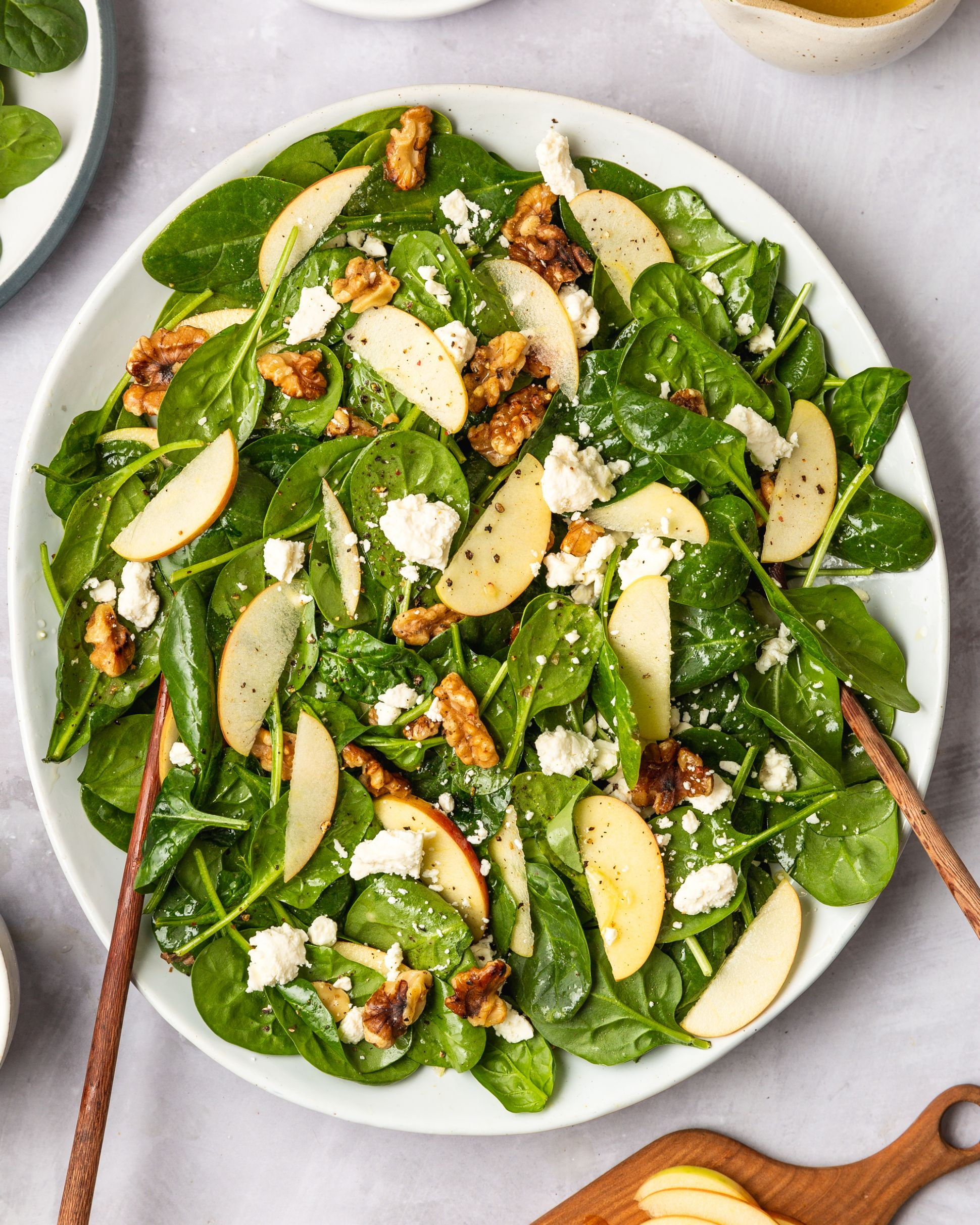 Easy Spinach Salad with Apples, Walnuts, and Feta