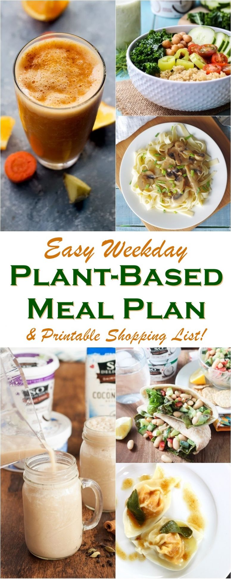 Easy Weekday Plant-Based Meal Plan + Shopping List