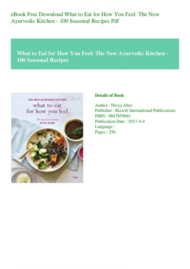 eBook Free Download What to Eat for How You Feel The New Ayurvedic Ki… - Cooking Recipes Ebook Free Download