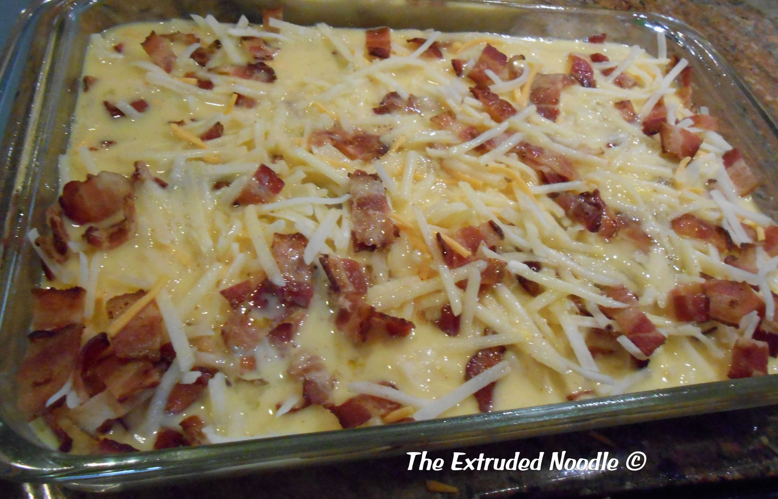 Egg, Bacon, Cheese and Hash Brown Casserole   The Extruded Noodle - Recipe Egg Hash Brown Bacon Casserole