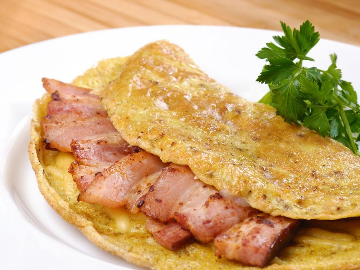 Eggs, Cheese, and Bacon Omelet