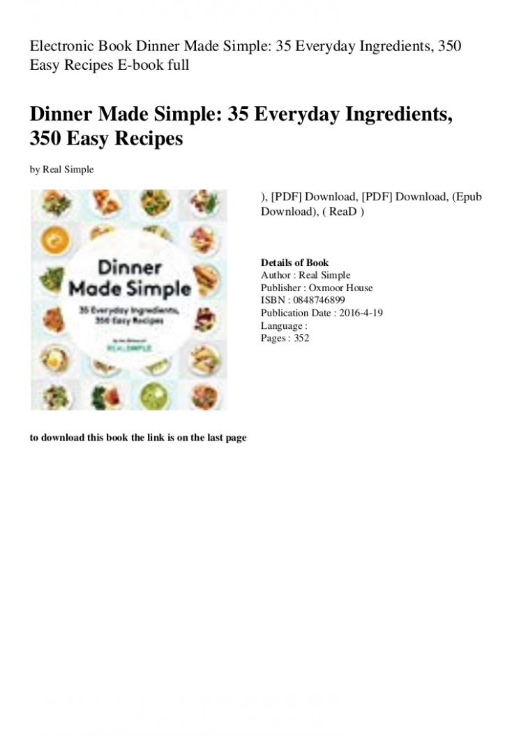 Electronic Book Dinner Made Simple 10 Everyday Ingredients 100 Easy …