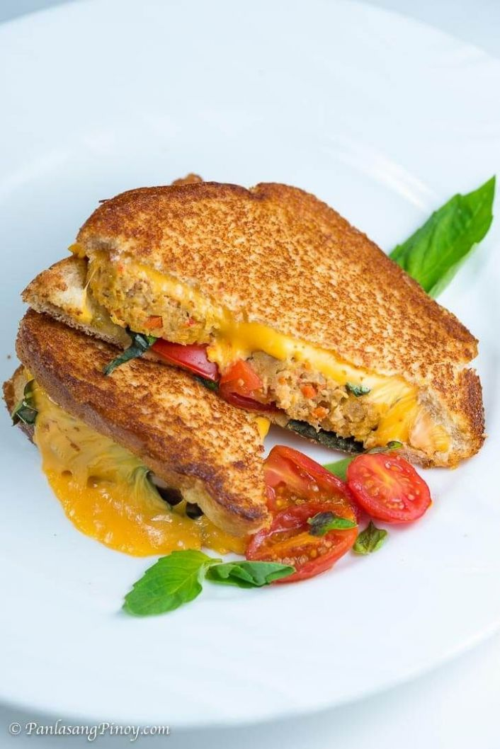 Embutido Meatloaf with Tomato and Basil Grilled Cheese Sandwich - Sandwich Recipes Panlasang Pinoy
