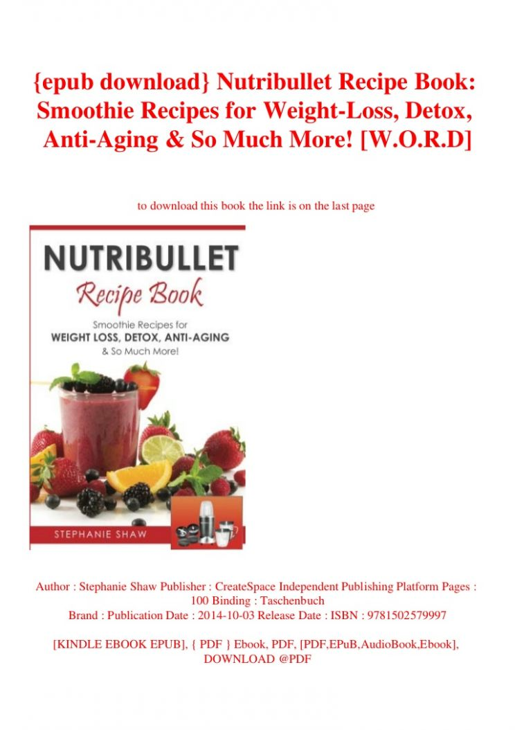epub download} Nutribullet Recipe Book Smoothie Recipes for Weight-L…