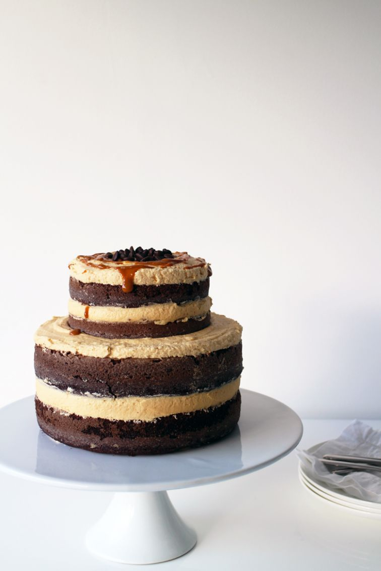 Exposed Chocolate, Coffee and Caramel Layer Cake | Made From Scratch