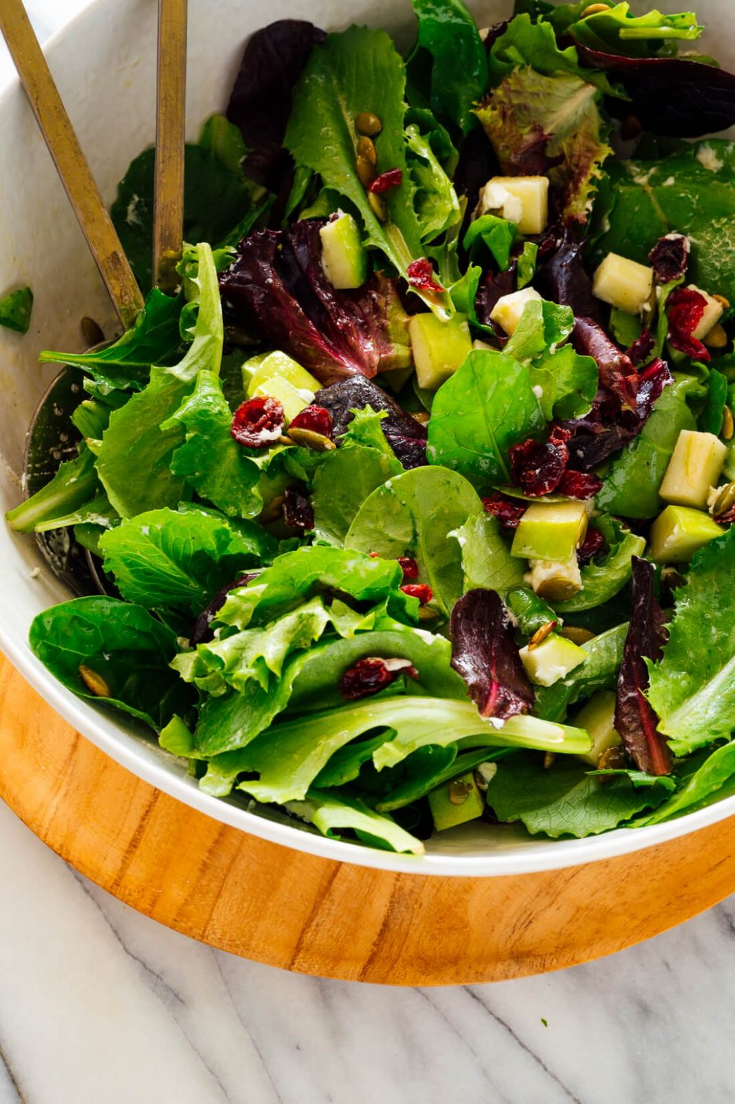 Favorite Green Salad with Apples, Cranberries and Pepitas - Salad Recipes Green