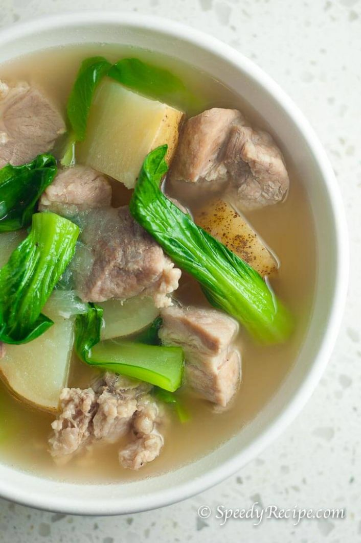 Filipino Pork Nilaga Soup (Boiled Pork with Bok Choy and Potato)