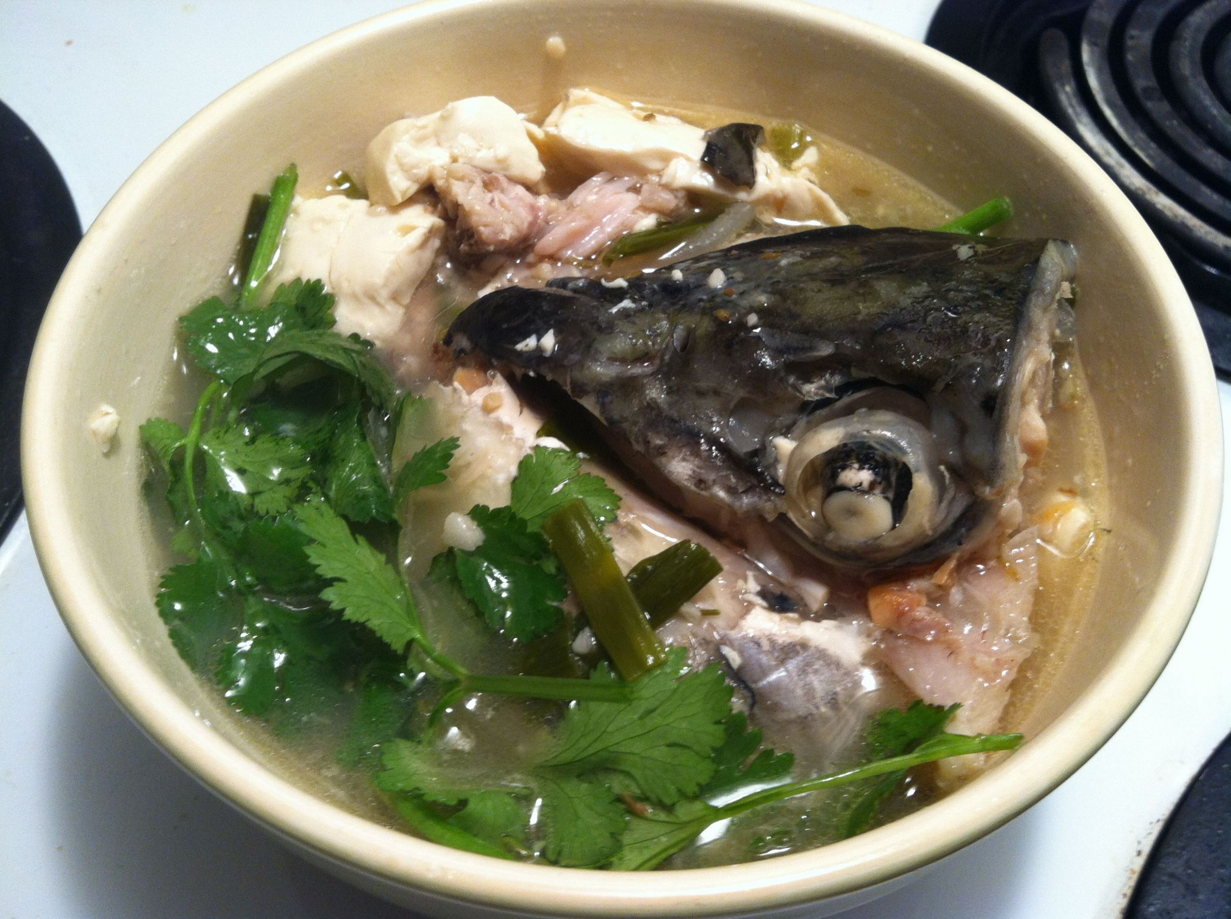 Finished Fish head and Tofu soup | Chinese soup recipes, Tofu soup ...