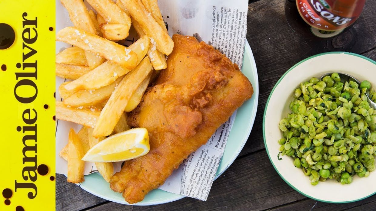 Fish, chips & mushy peas - Recipe Fish And Chips Jamie Oliver