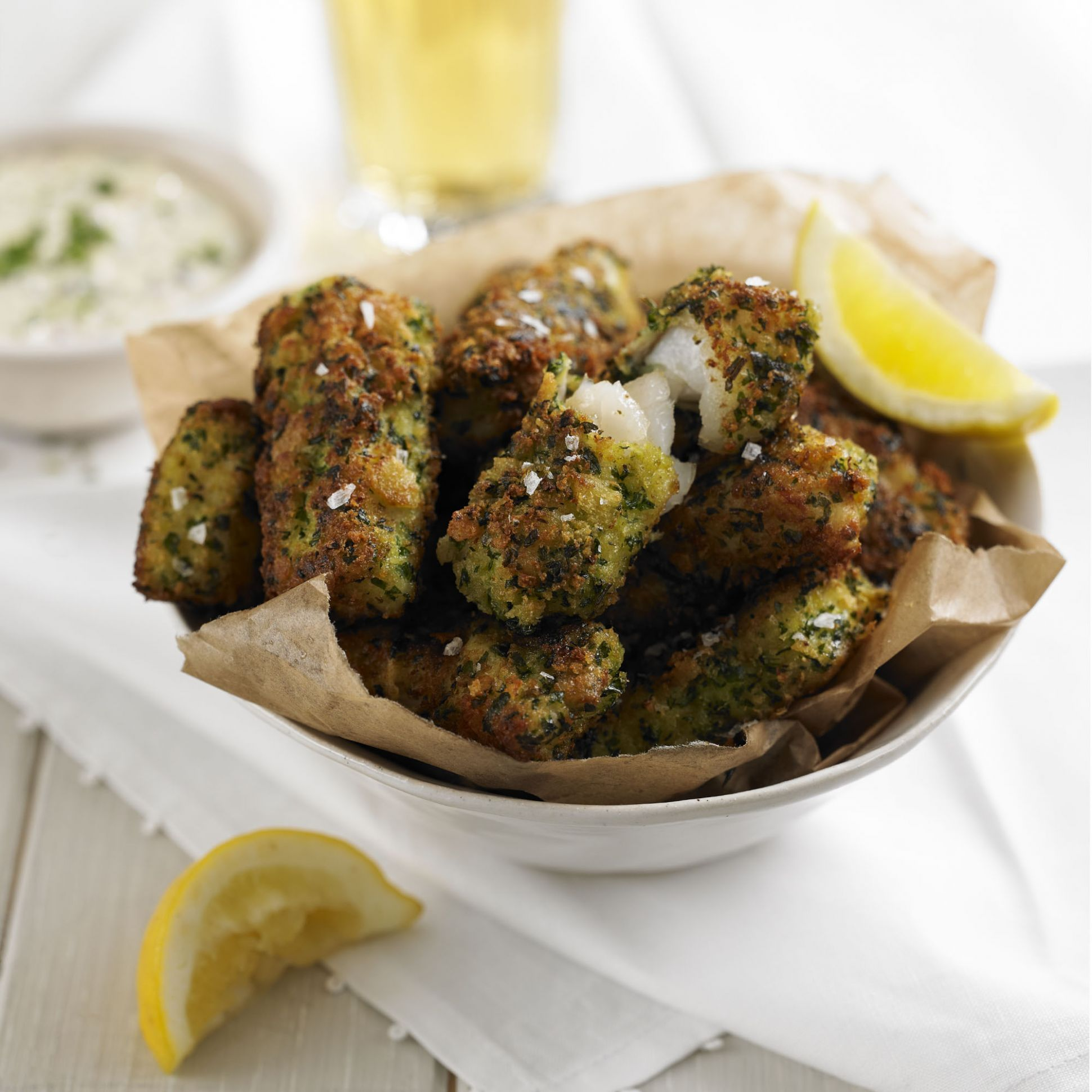 Fish Goujons with a Gremolata Crust and Homemade Tartare Sauce - Recipe Fish Goujons