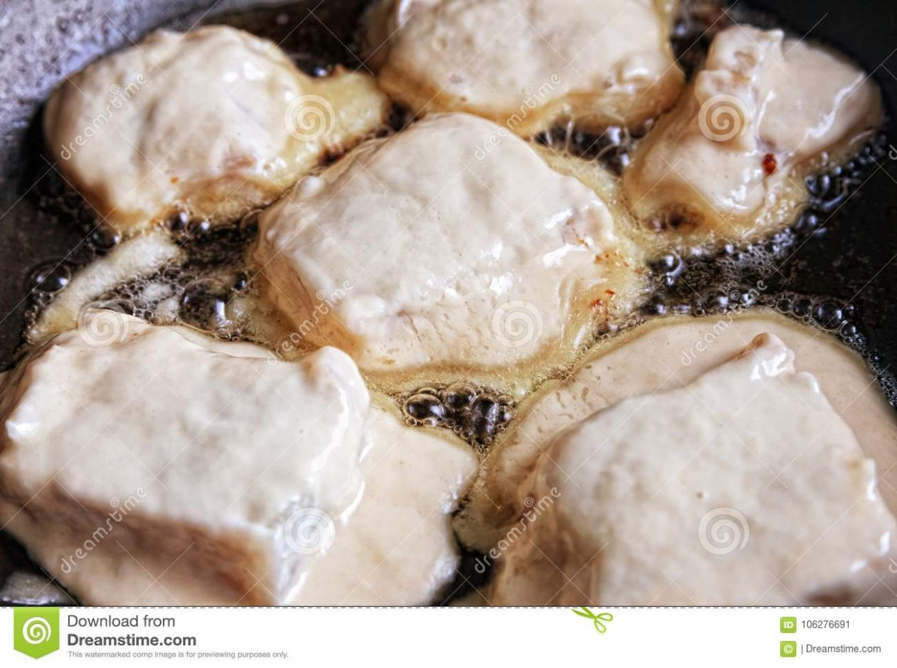 Fish In The Dough In The Pan Stock Image - Image of cooking, meal ..
