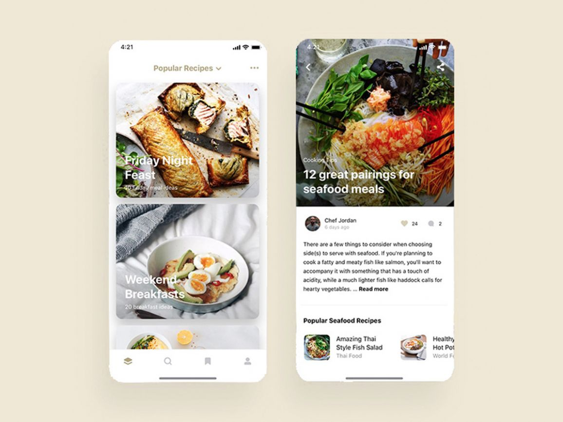 Food recipes mobile app UI card design by UI Place on Dribbble - Breakfast Recipes App