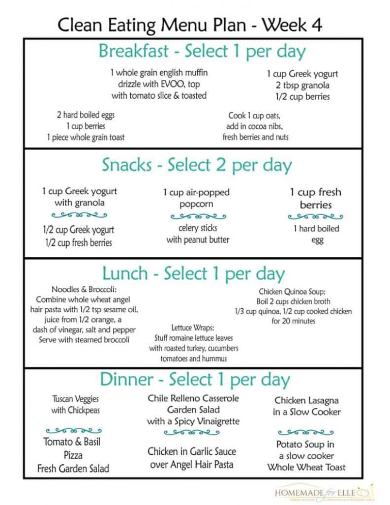 Free Clean Eating Meal Plan on a Budget ⋆ Homemade for Elle