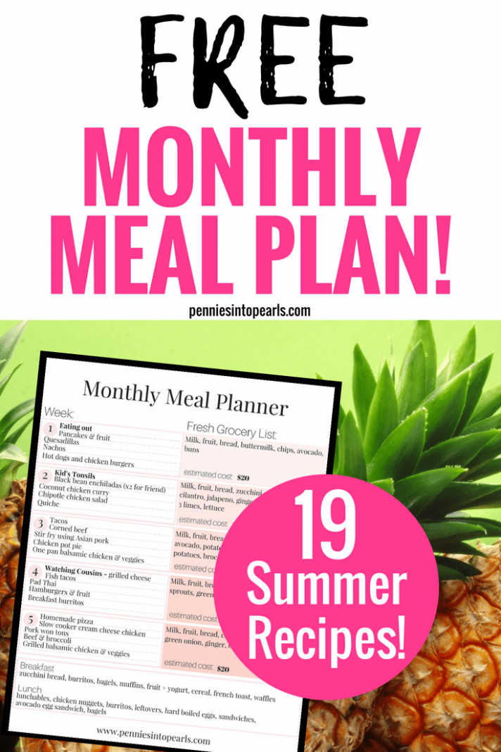 FREE Monthly Meal Planning on a Budget Printable 10 Summer Recipes ...