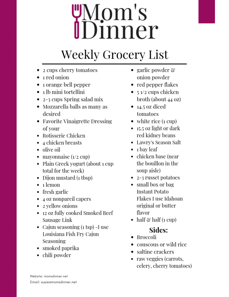 Free Weekly Meal Plan, Recipes, & Printable Grocery List   Mom's ...