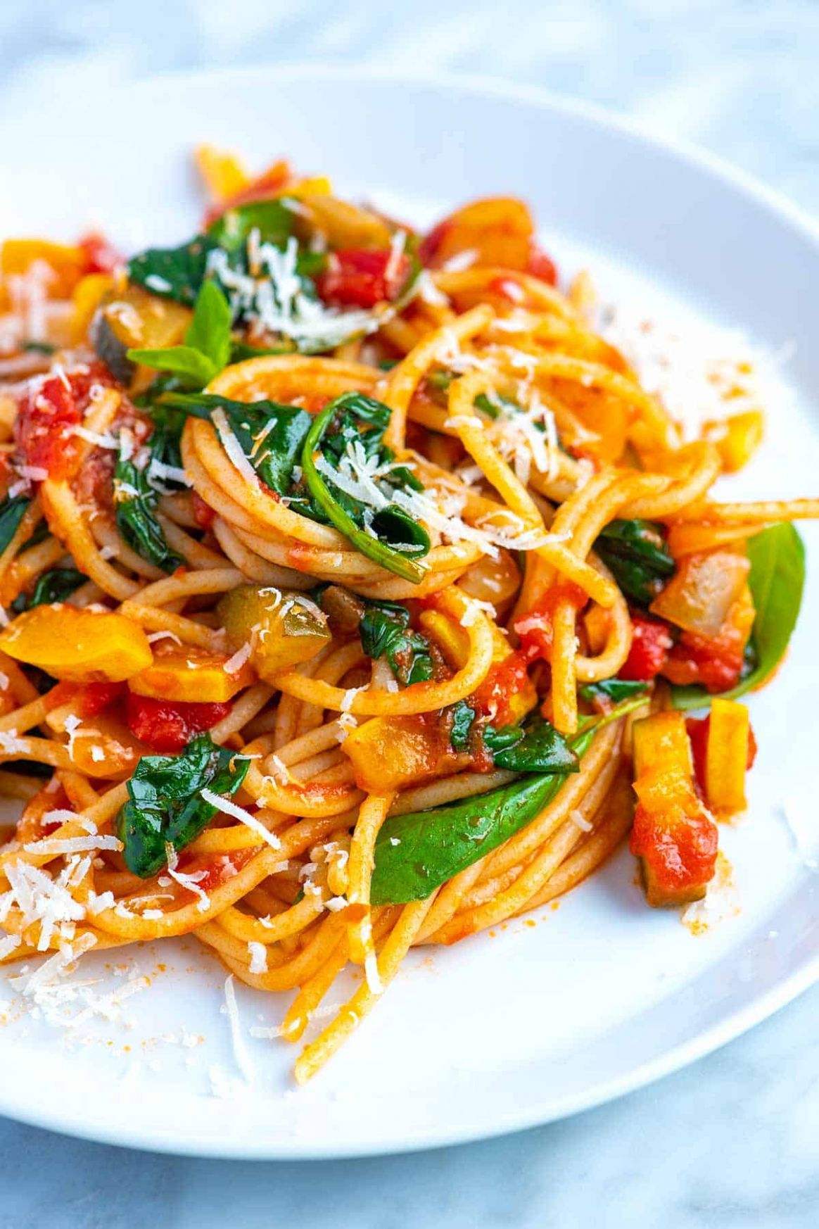 Fresh and Easy Veggie Spaghetti - Pasta Recipes Red Sauce Veg