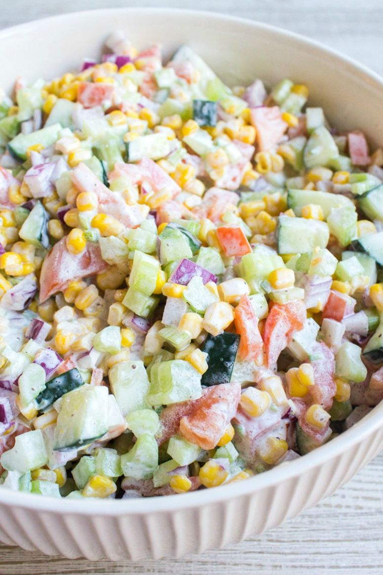 Fresh Vegetable Salad with Video • Bread Booze Bacon