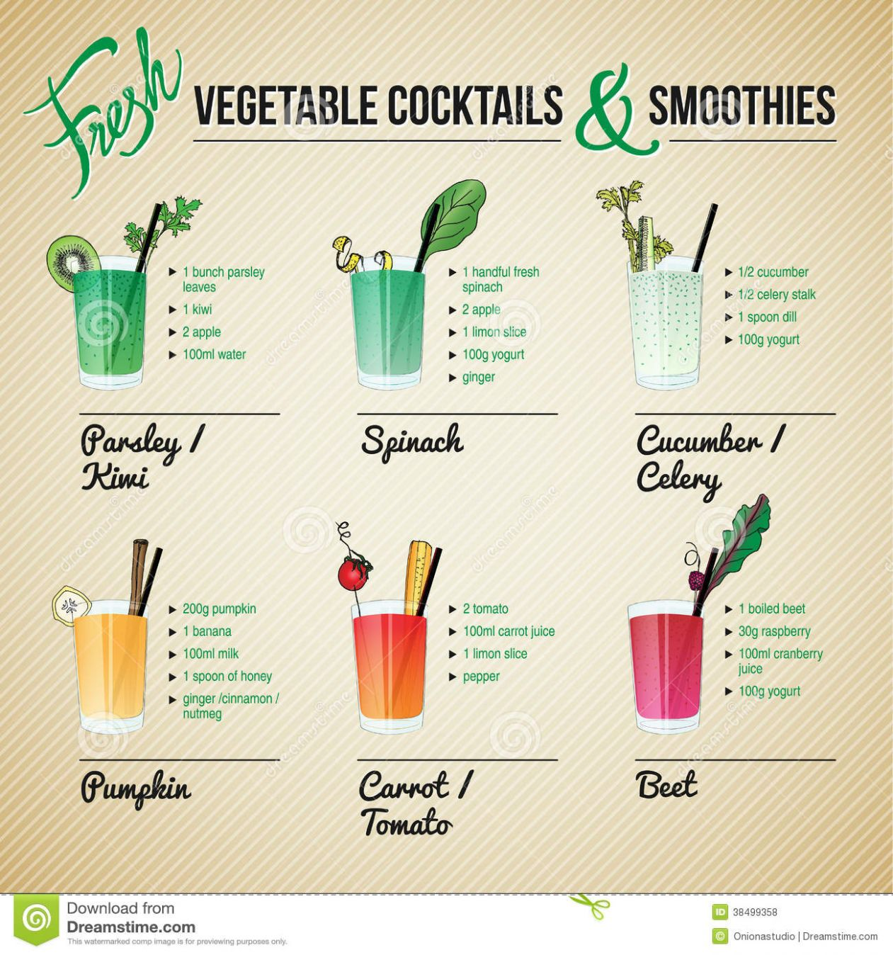 Fresh Vegetables Cocktails And Smoothies Stock Vector ..