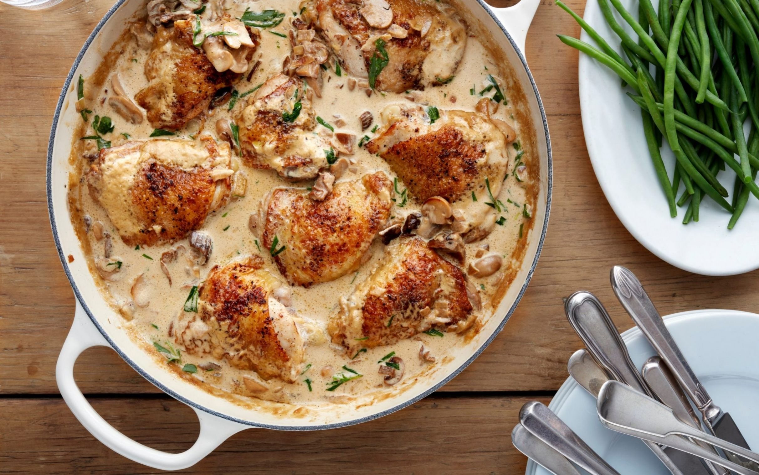 Fricassée of chicken with mushrooms, sherry and tarragon recipe