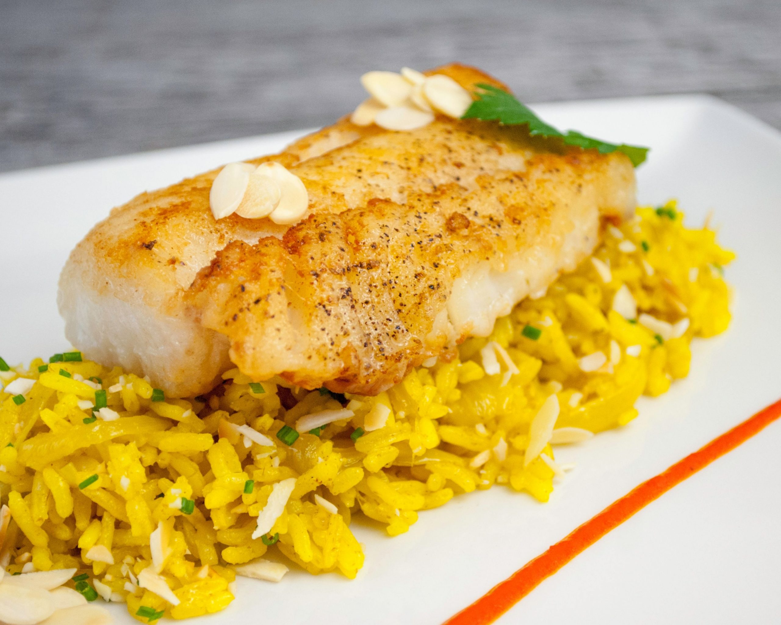 Fried cod with turmeric rice - Rice Recipes For Fish
