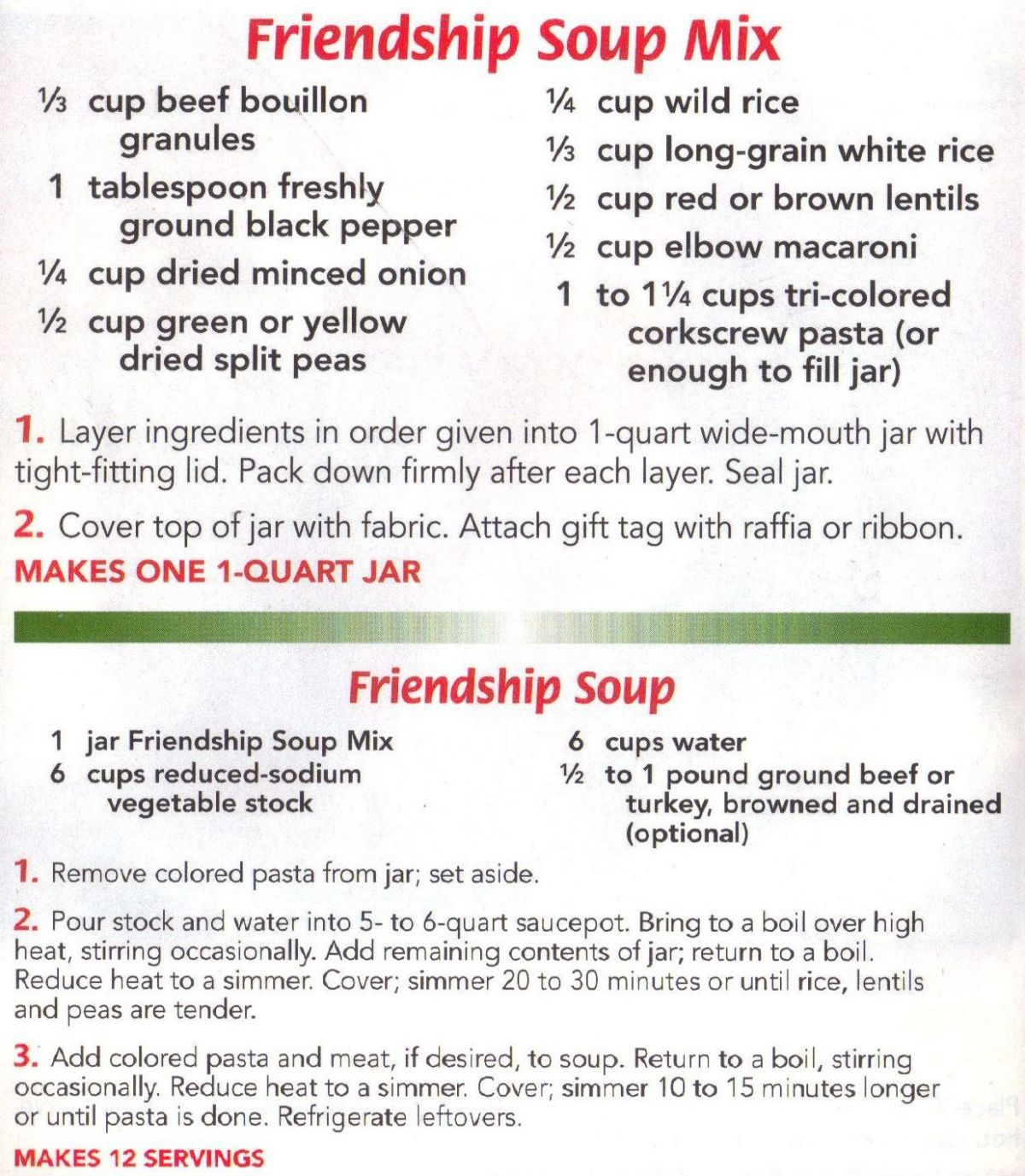 Friendship Soup Mix. Made this recipe tonight and it is so ...