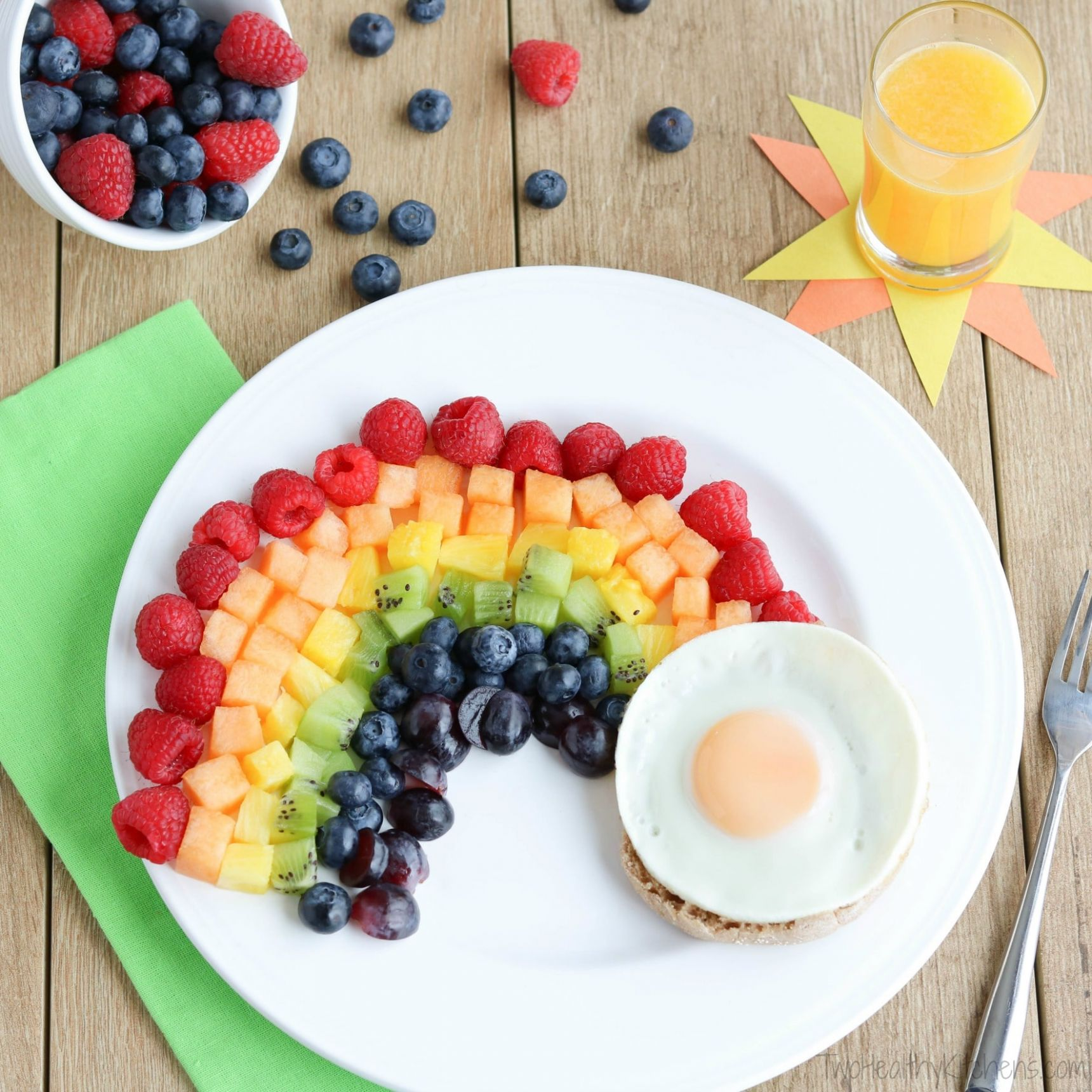 Fruit Rainbow with a Pot of Gold (Fun Breakfast Idea for Kids!) - Breakfast Recipes For Kids