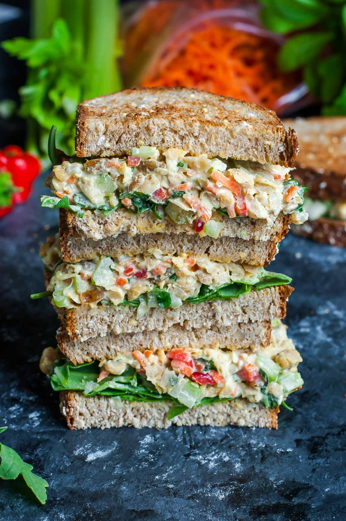 Garden Veggie Chickpea Salad Sandwich - Sandwich Recipes Vegetarian
