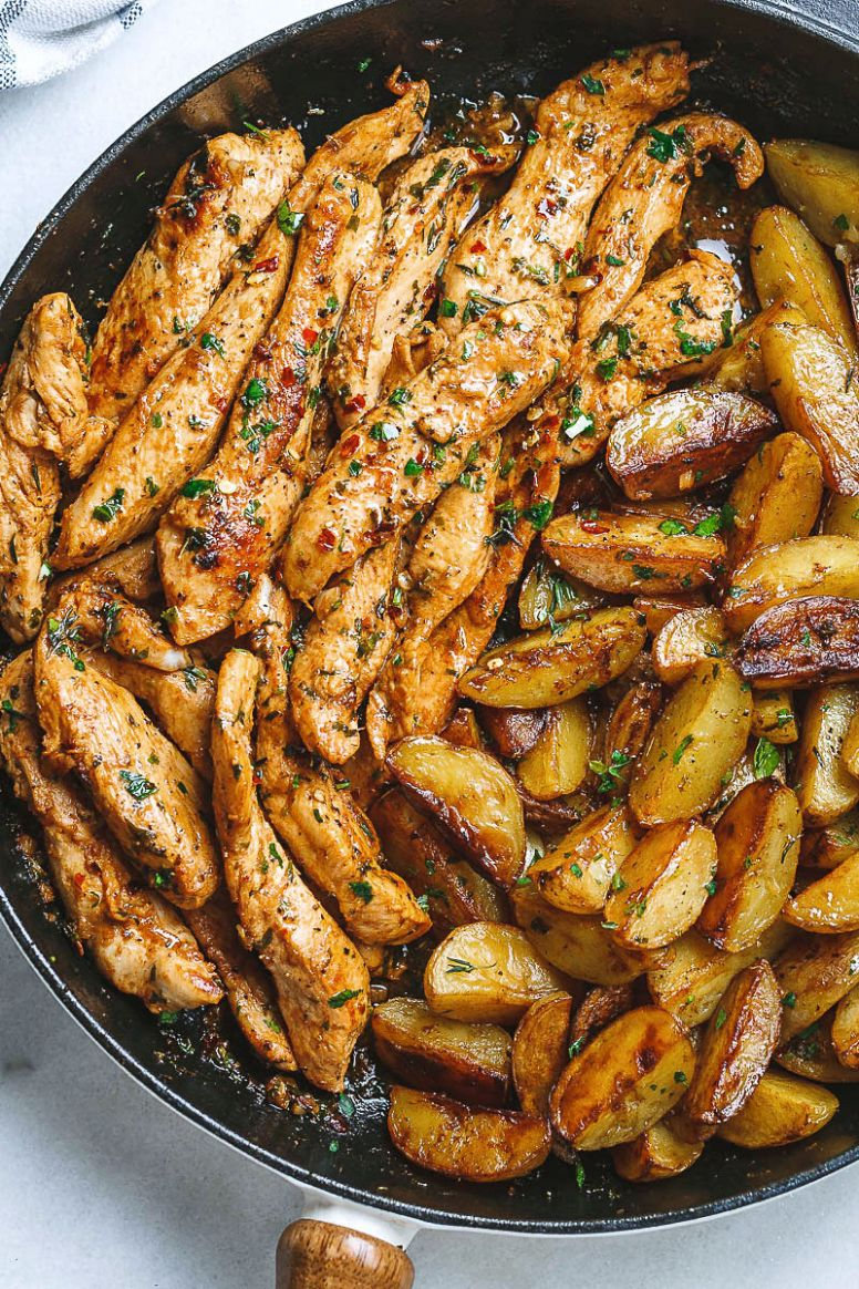 Garlic Butter Chicken and Potatoes Skillet - Recipes Chicken Breast Stovetop