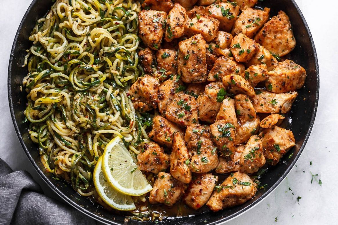 Garlic Butter Chicken Bites with Lemon Zucchini Noodles - Recipes Using Chicken Breast And Zucchini