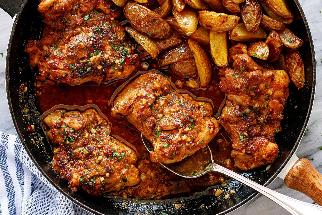 Garlic Butter Chicken Thighs and Baby Potatoes Skillet - Recipes Using Chicken Thighs