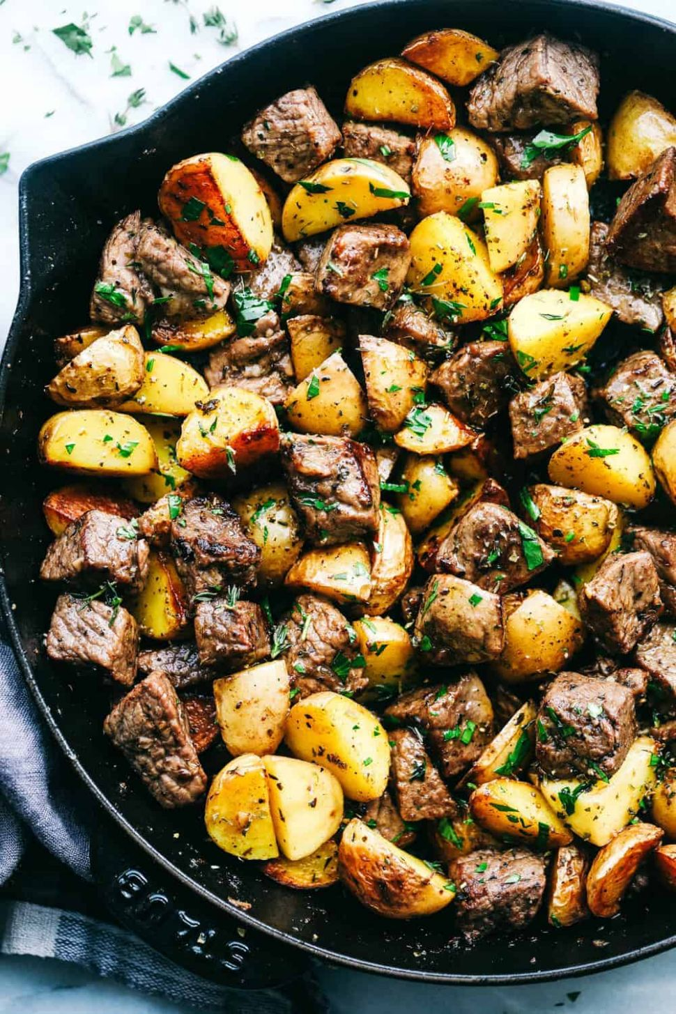 Garlic Butter Herb Steak Bites with Potatoes - Diced Beef Recipes Quick