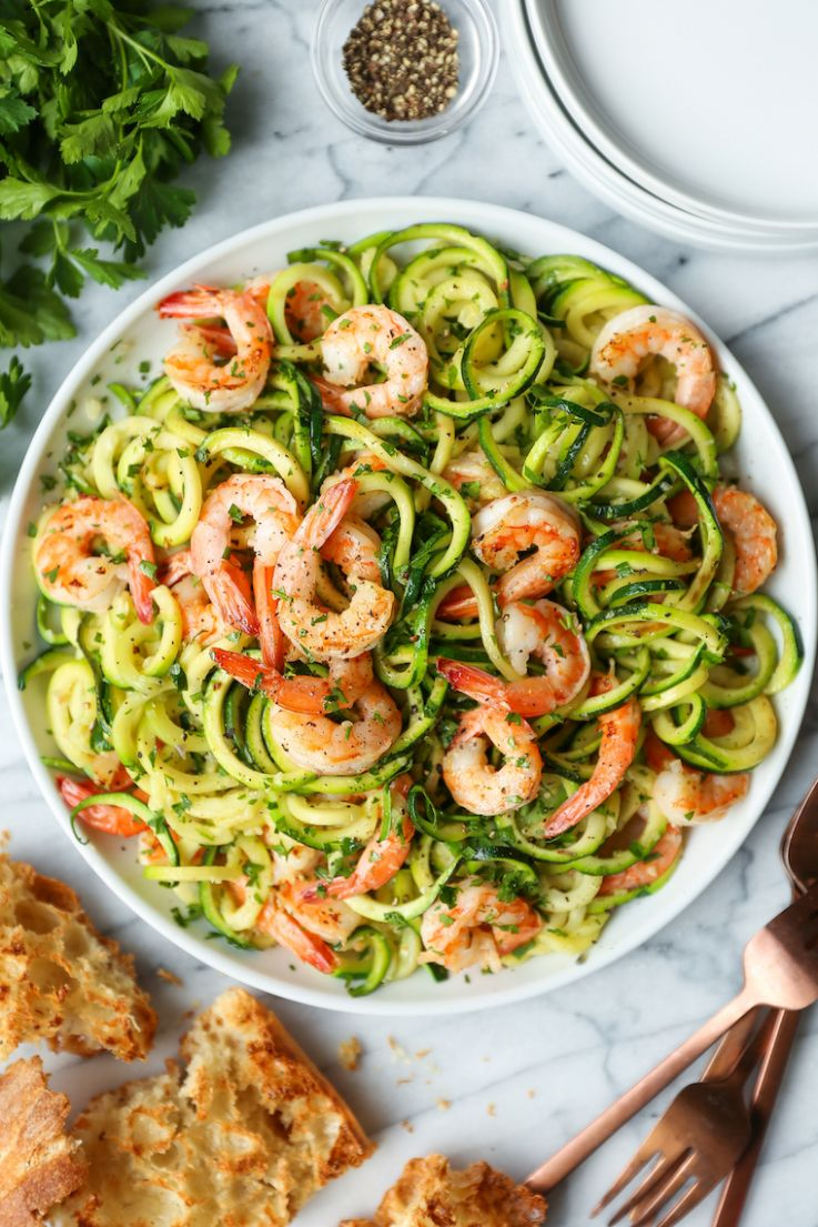 Garlic Butter Shrimp Zucchini Noodles - Dinner Recipes With Zucchini Noodles
