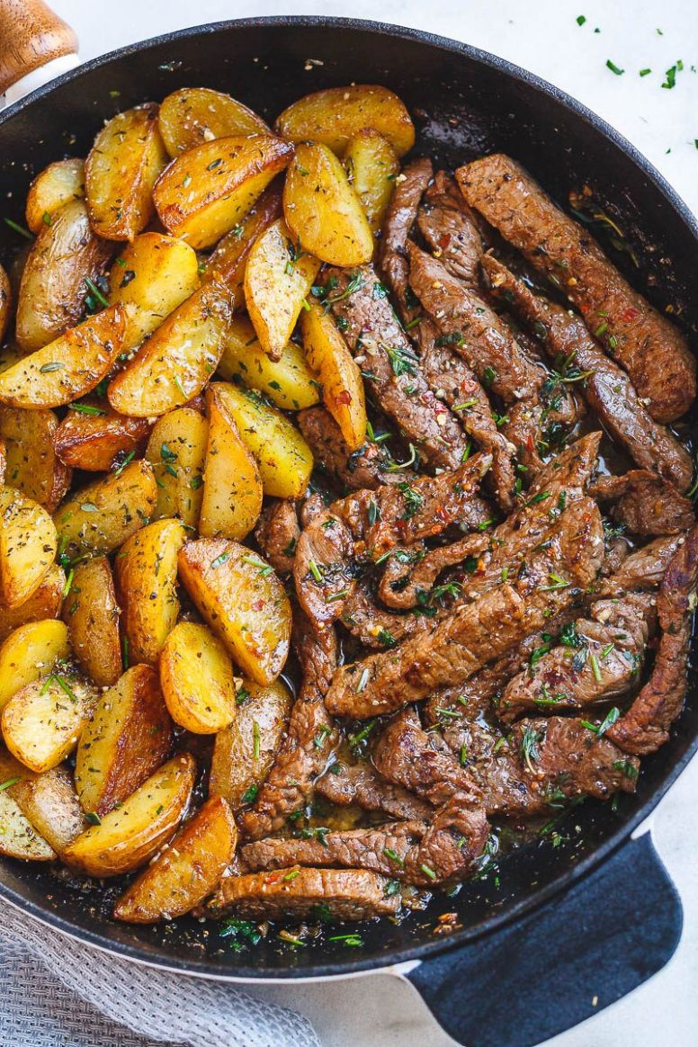 Garlic Butter Steak and Potatoes Skillet - Recipes Beef Strips