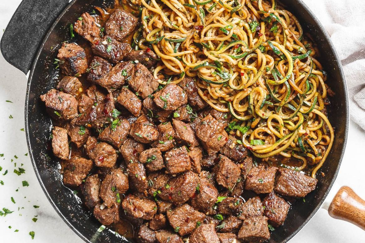 Garlic Butter Steak Bites with Lemon Zucchini Noodles - Recipes With Beef And Zucchini