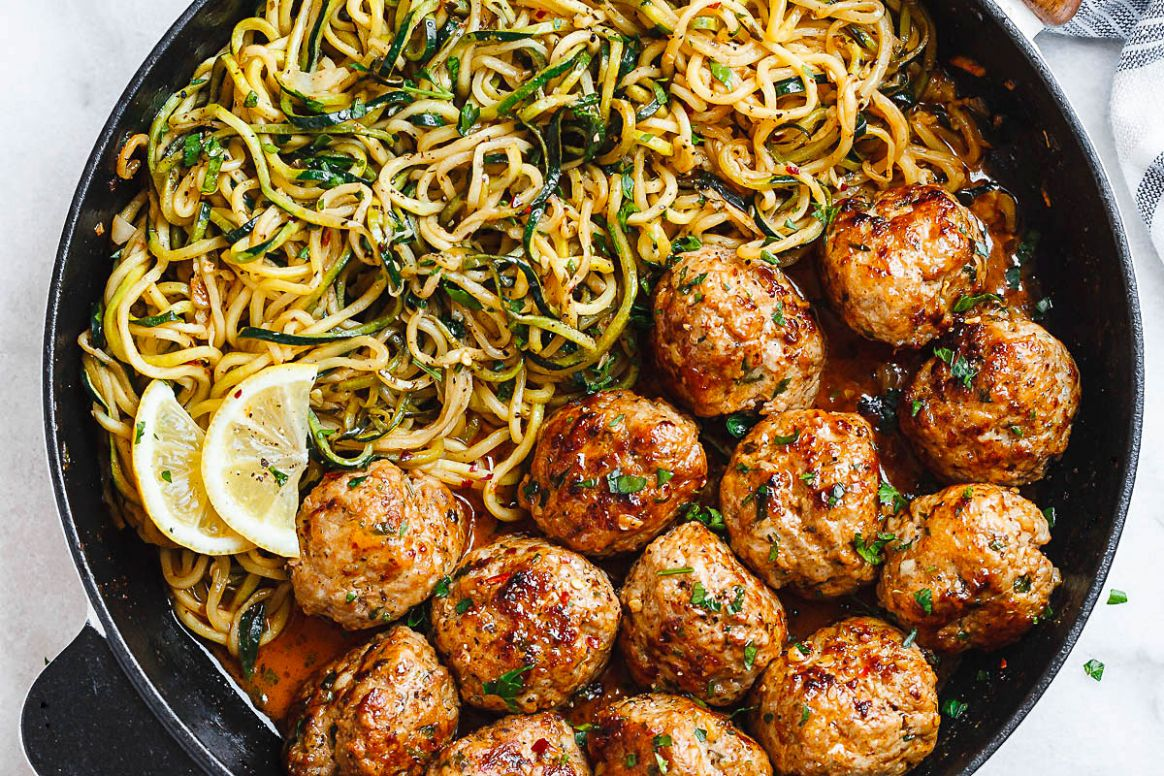 Garlic Butter Turkey Meatballs with Lemon Zucchini Noodles - Healthy Dinner Recipes Zucchini