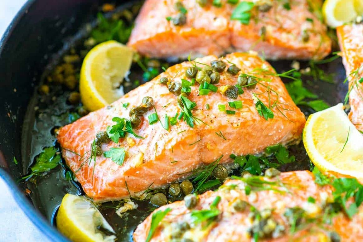 Garlic Caper Butter Baked Salmon - Easy Recipes Salmon