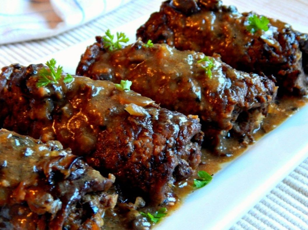 German Beef Rouladen, with Mushroom Gravy