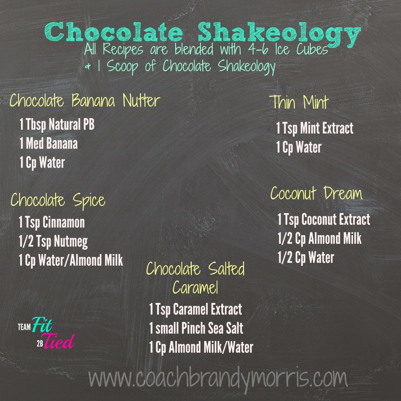 Getting Fit for Good : Chocolate Shakeology Recipes - Recipes Chocolate Shakeology