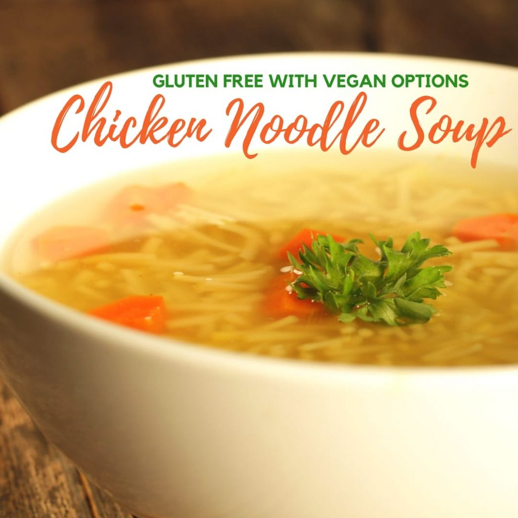 Gluten Free Chicken Noodle Soup Recipe with Vegan Options