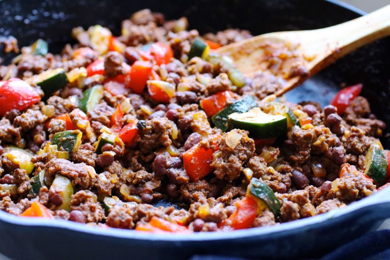 Grass Fed Beef and Zucchini Skillet Supper - Recipes With Ground Beef Zucchini And Rice